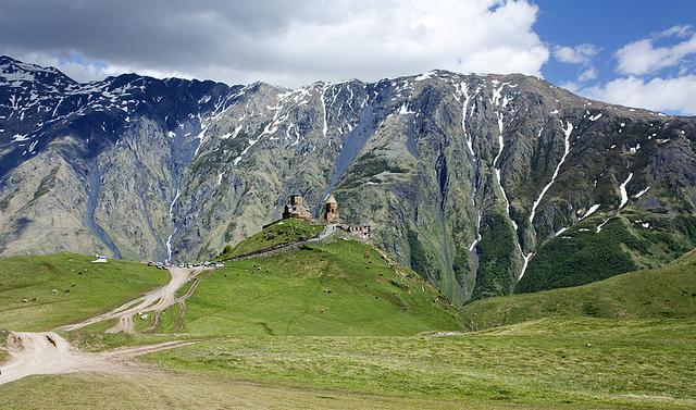 mysterious mountain church Stepantsminda